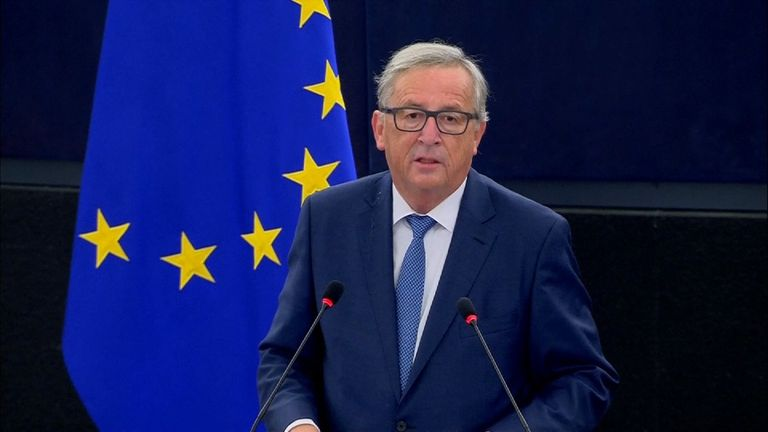 The President of the European Commission, Jean-Claude Juncker, speaking at the European Parliament on the 14th September.