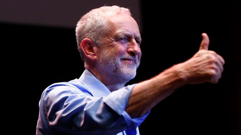 Labour leader Jeremy Corbyn at a rally in Brighton