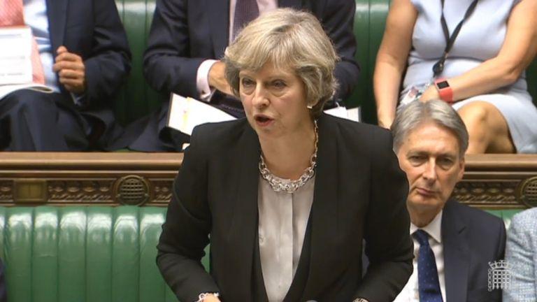 Theresa May during PMQs
