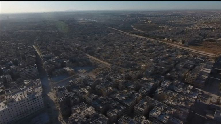 Drone footage of war-torn Aleppo