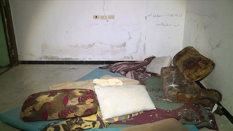 Fighters from the Manbij Military Council have found a prison used by Islamic State group (IS) militants to imprison and torture women, according to news agency Arab24. Pictured are mattresses and blankets on the floor.