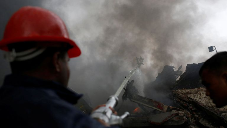 A fire at the Tampaco Foils packaging factory near Dhaka in Bangladesh