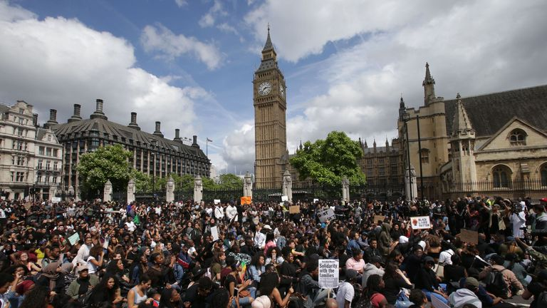 A file picture of a Black Lives Matter protest in central London in July