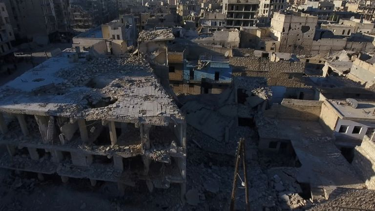 Damaged buildings after an airstrike in Aleppo, Syria