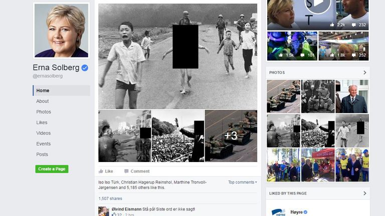 Ms Solberg protested the removal of the image on her Facebook page