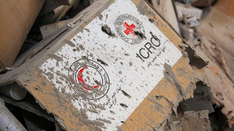 A box on the aid convoy that was attacked outside Aleppo