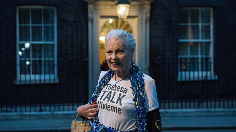 Designer Vivienne Westwood wears a Theresa Talk Vivienne T-shirt as she arrives for a celebration of British fashion hosted by PM Theresa May and Natalie Massenet