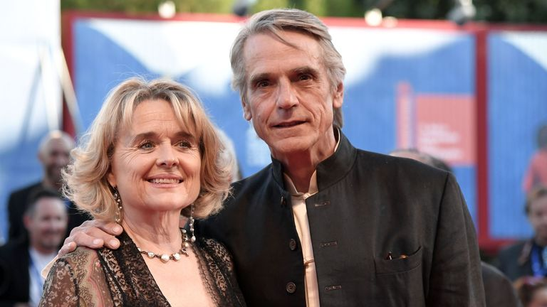 Actor Jeremy Irons and his wife Sinead Cusack pose on the red carpet in August