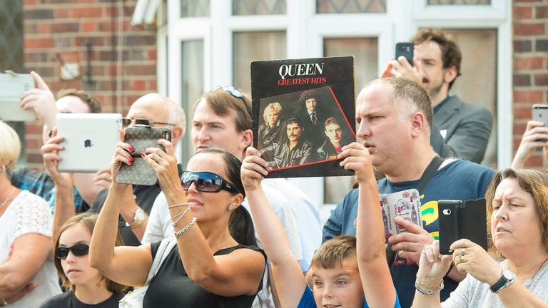 unveiling of an English Heritage blue plaque to the band's lead singer, Freddie Mercury, at his former home at 22 Gladstone Avenue in Feltham, west London.