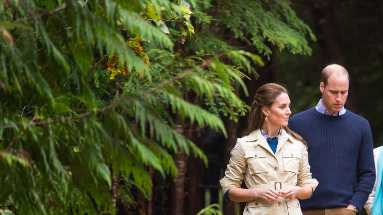 William and Kate walk through the Great Bear Rainforest in Bella Bella, Canada