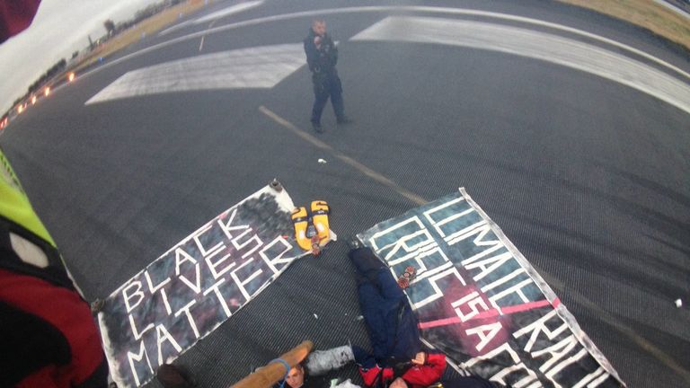 """Protesters """"occupy"""" the airport runway"""