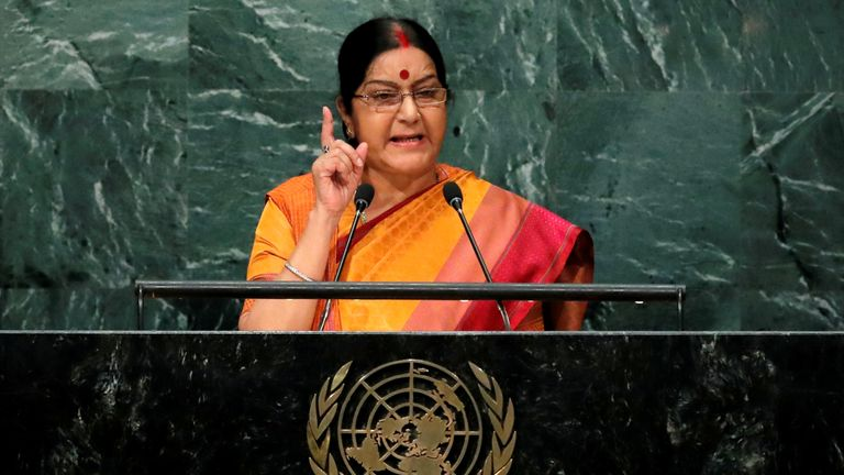 Sushma Swaraj told Pakistan to give up its dream of controlling Kashmir