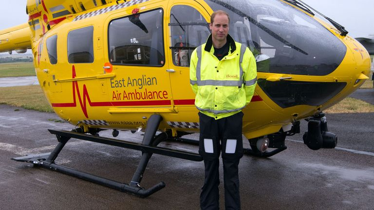 Prince William in his role as an air ambulance pilot