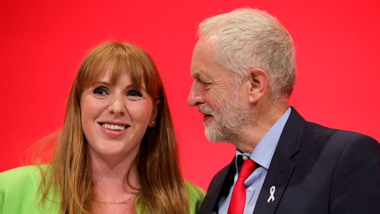 Shadow Education Secretary Angela Rayner at the Labour Party Conference with the party's leader.