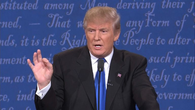 Donald Trump during the first debate at Hofstra University