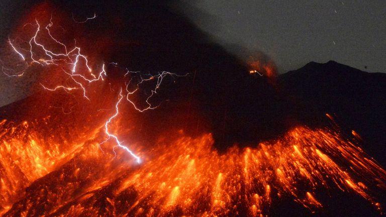 Volcanic lightning on Mt Sakurajima on 5 February, 2016.