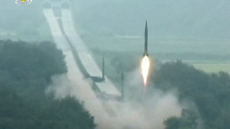 A North Korean missile is fired into the air. Pic: KRT