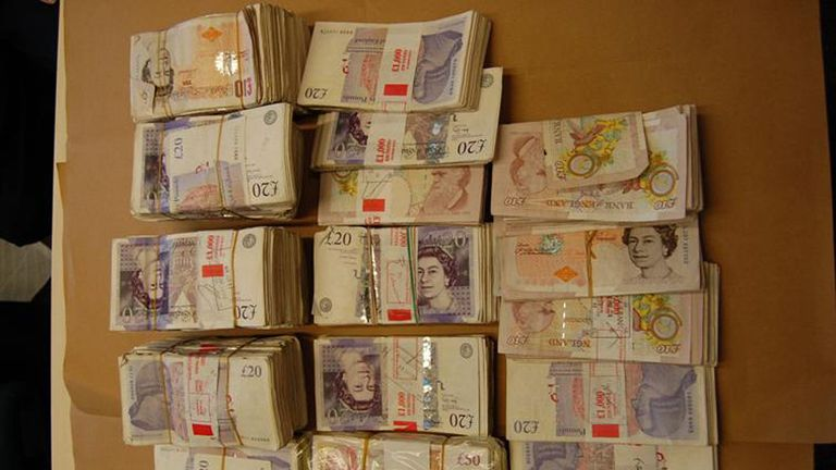 "Undated Metropolitan Police handout photo of cash seized by police as a gang have been jailed for carrying out a ""clever, persistent and pitiless"" multimillion-pound bank fraud and money laundering scam. PRESS ASSOCIATION Photo. Issue date: Wednesday September 21, 2016."
