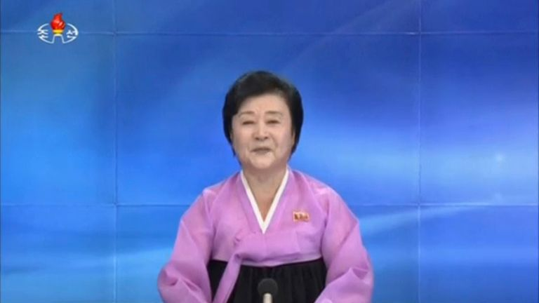 A state TV announcer confirms the nuclear test