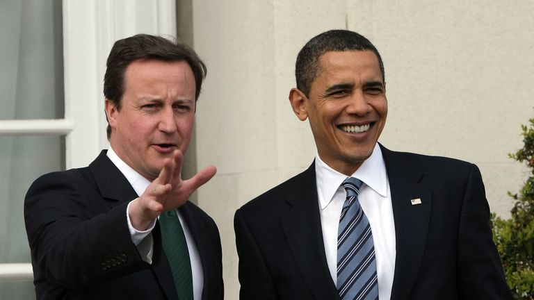 While still in opposition Mr Cameron met with US President Barack Obama