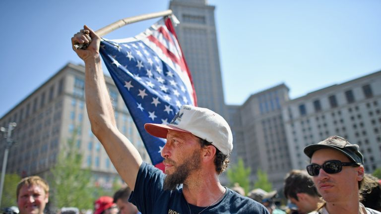 A protester during the Republicans' convention In Cleveland in July