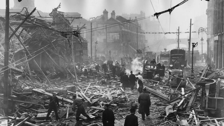 The scene in Farringdon Road, London, after a V-2 rocket had fallen in daylight