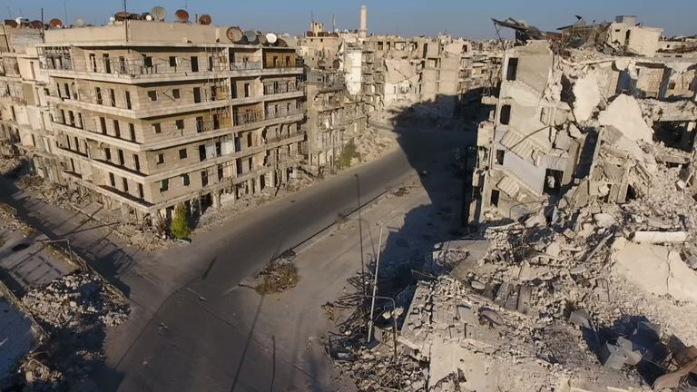 A drone footage obtained by Reuters shows damaged buildings in one of the areas hardest hit in Alepppo, on 27 September, 2016