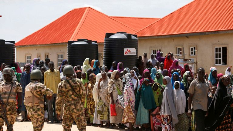 Refugees protesting against what they see as poor distribution of food at the Bakkasi camp in Maiduguri
