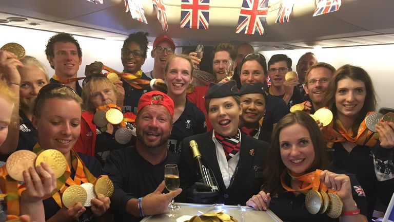 ParalympicsGB athletes on the flight home from Rio. Pic: @ParalympicsGB