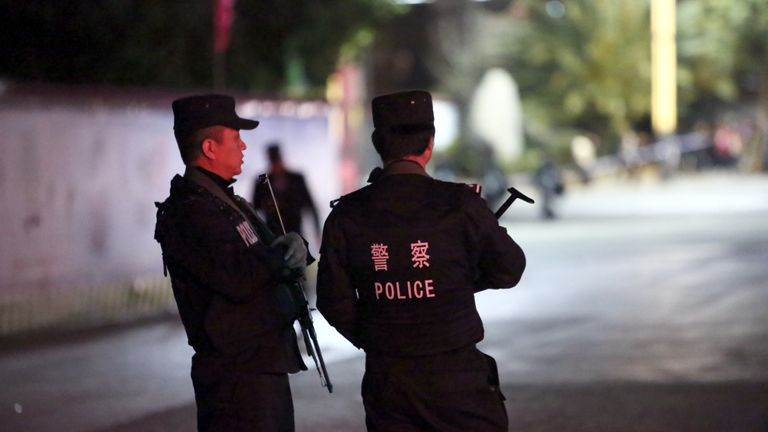 Armed officers in Kunming, where ;police say the killer was arrested. File picture