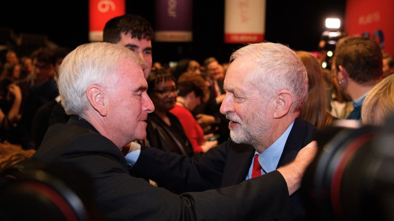 John McDonnell congratulates Jeremy Corbyn after his leadership win