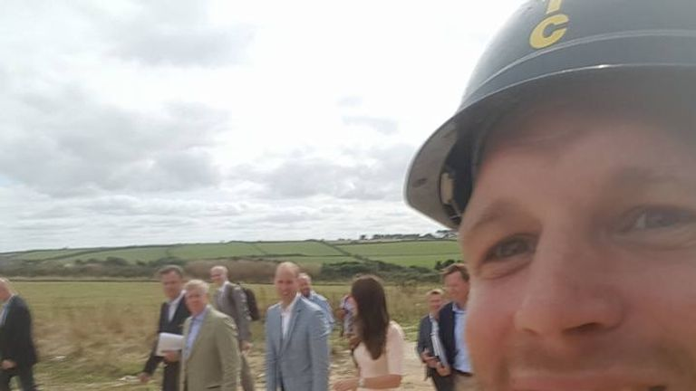 Cornish builder Sam Wayne snaps a selfie with the Duke and Duchess of Cambridge
