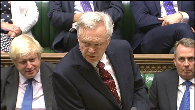 Brexit minister David Davis told MPs the plans include the UK controlling its own borders
