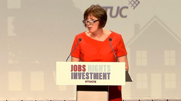 Frances O'Grady addresses TUC delegates