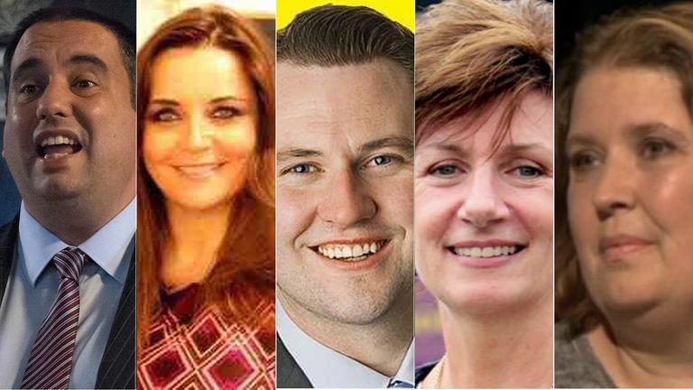 The UKIP contenders (L-R): Bill Etheridge, Elizabeth Jones, Philip Broughton, Diane James, Lisa Duffy