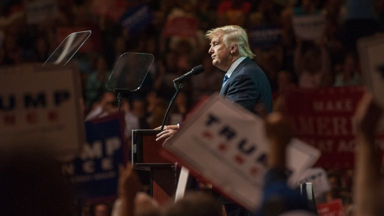 Donald Trump speaks at a rally in Ohio on Wednesday night