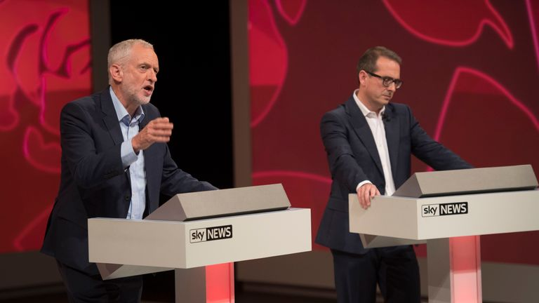 Jeremy Corbyn addresses the audience at the Sky hustings