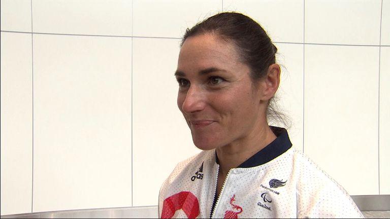 Paralympian Sarah Storey at Heathrow