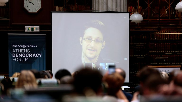 Edward Snowden speaks via video link during the Athens Democracy Forum