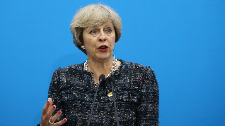 Theresa May speaks at a press conference at the end of the G20 summit