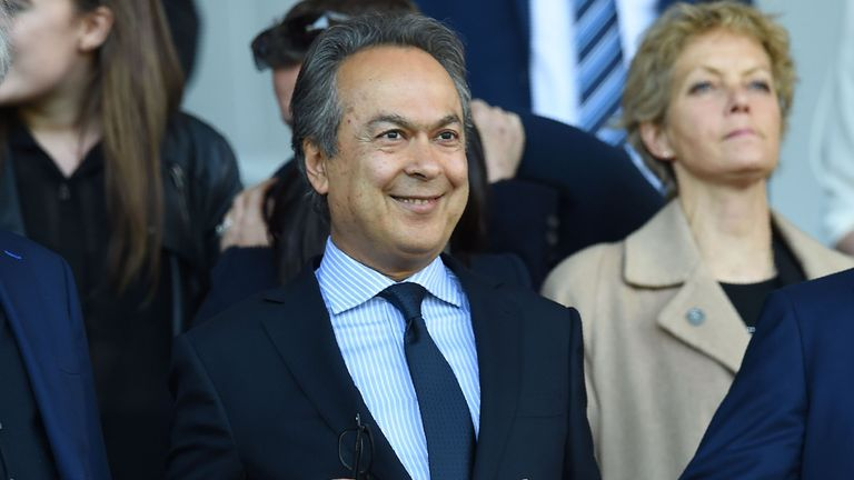 Everton's Iranian owner Farhad Moshiri (C) is happy with the start to the season