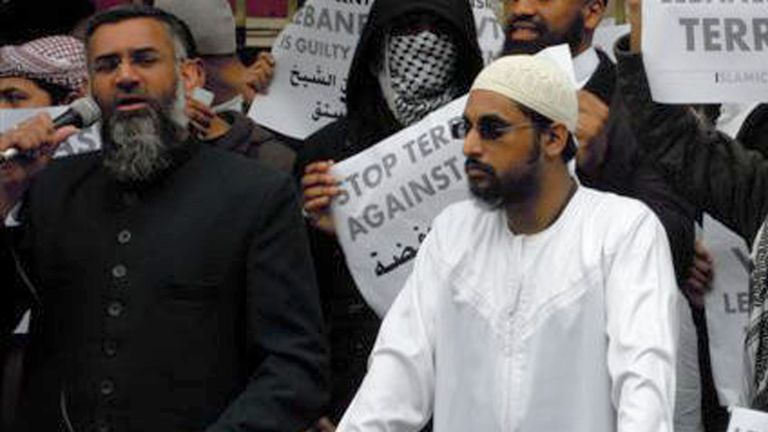 Anjem Choudary, left, and Mohammed Mizanur Rahman at a rally together