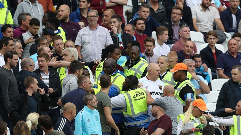 Stewards bid to stop crowd trouble at West Ham v Watford