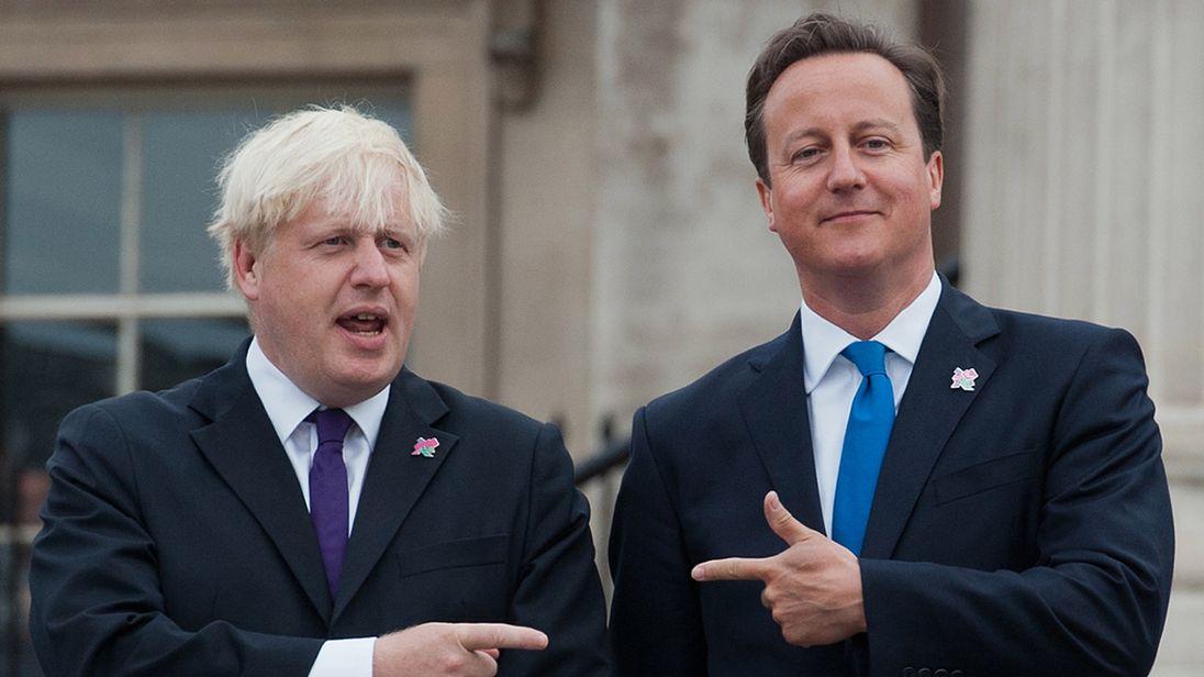 Boris Johnson (L) and David Cameron