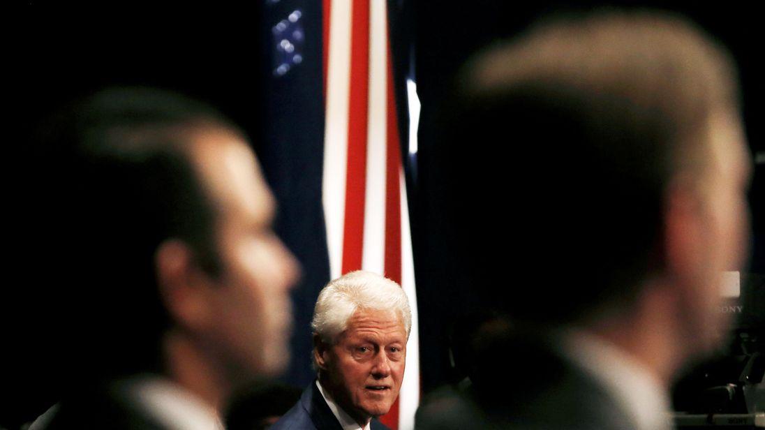 Former US President Bill Clinton at the debate in St Louis, Missouri