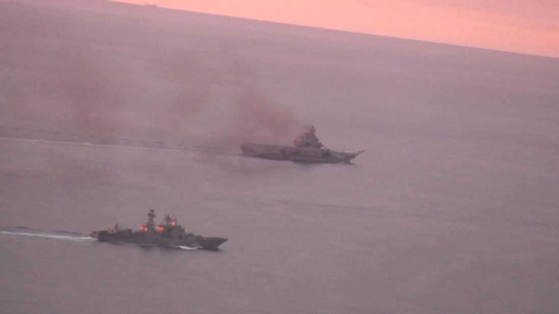 Norwegian Navy footage of a fleet of Russian warships taken by a surveillance aircraft in international waters off the Norwegian coast