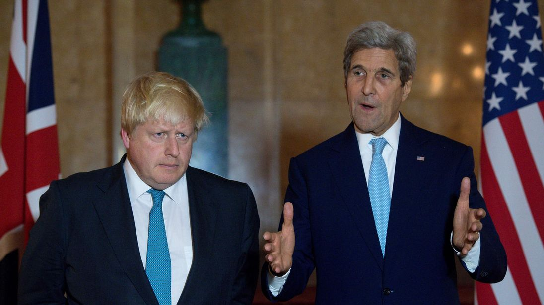 Boris Johnson and John Kerry speak following crisis talks in London