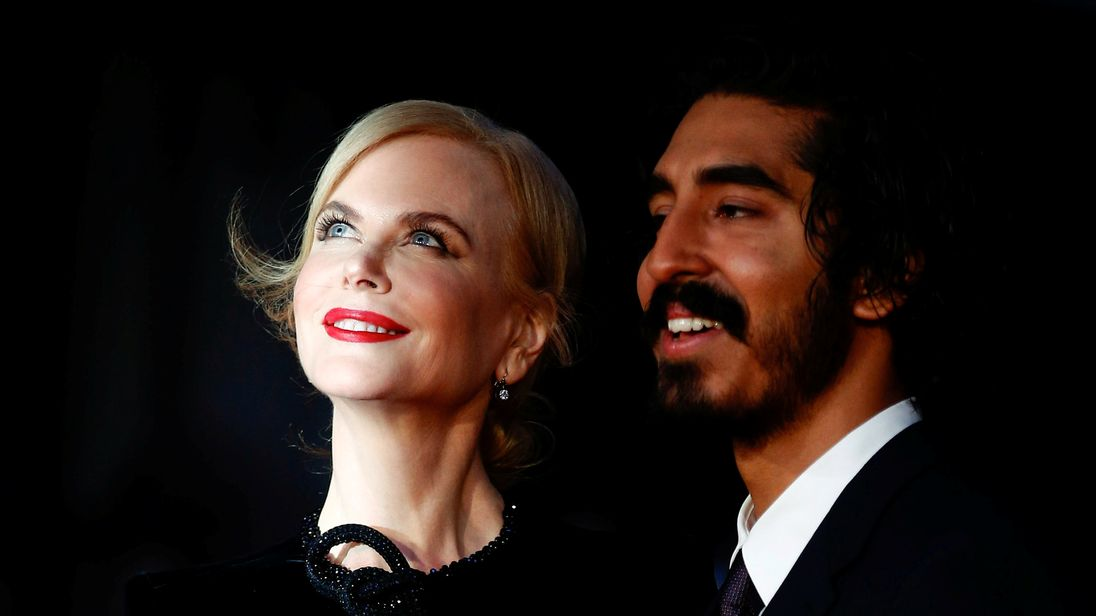 Nicole Kidman and Dev Patel arrive for the gala screening of the film Lion, during the British Film Institute's London Film Festival