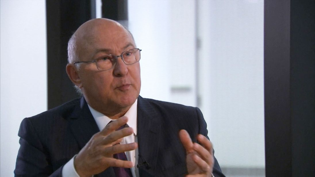 Michel Sapin speaking to Sky News