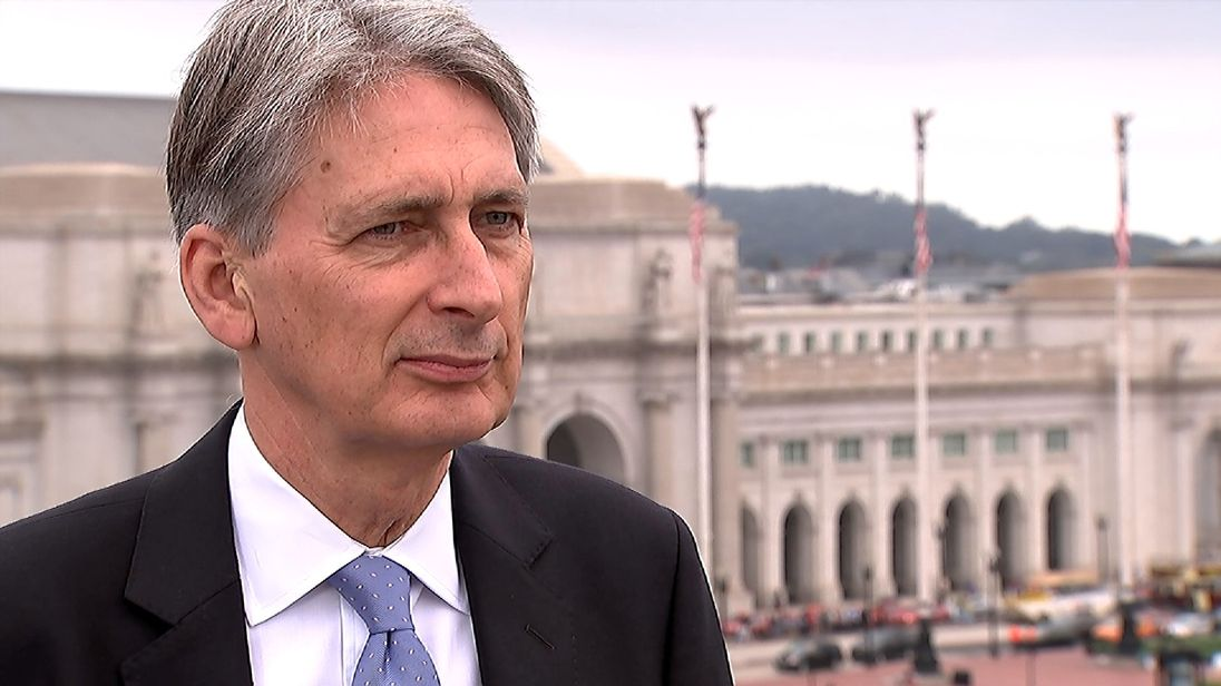 Chancellor Philip Hammond talks to Sky's Ed Conway